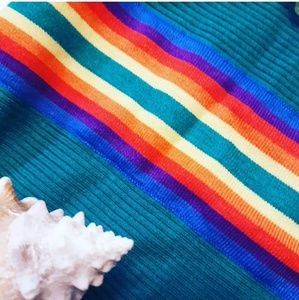 Nordstrom Dresses - 70s Style Rainbow Ribbed Knit Dress from Nordstrom